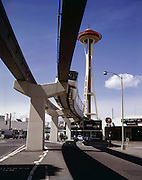 BI26,663-02...WASHINGTON - A 1962 photograph of the Monorail and Space Needle built for Seattle's Century 21 Worlds Fair.