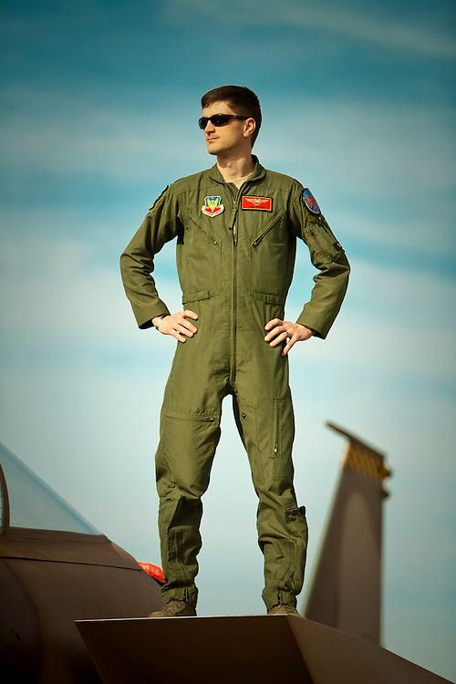 Major Jan Stahl, F-15 Eagle pilot.  Photographed at Nellis AFB, Las Vegas, Nevada.