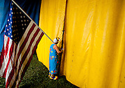 Jahirt Bermudez, of Colombia, South America, performs as Perolito the clown for the Cole Bros. Circus during a stop at the Rockingham County Fairgrounds in Harrisonburg, Virginia.