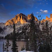 Baron Spire and Baron Lake in the Sawtooth Wilderness area of central Idaho