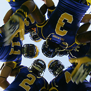 Delaware defensives backs huddle up together prior to a Week 1 NCAA football game against West Chester. <br />