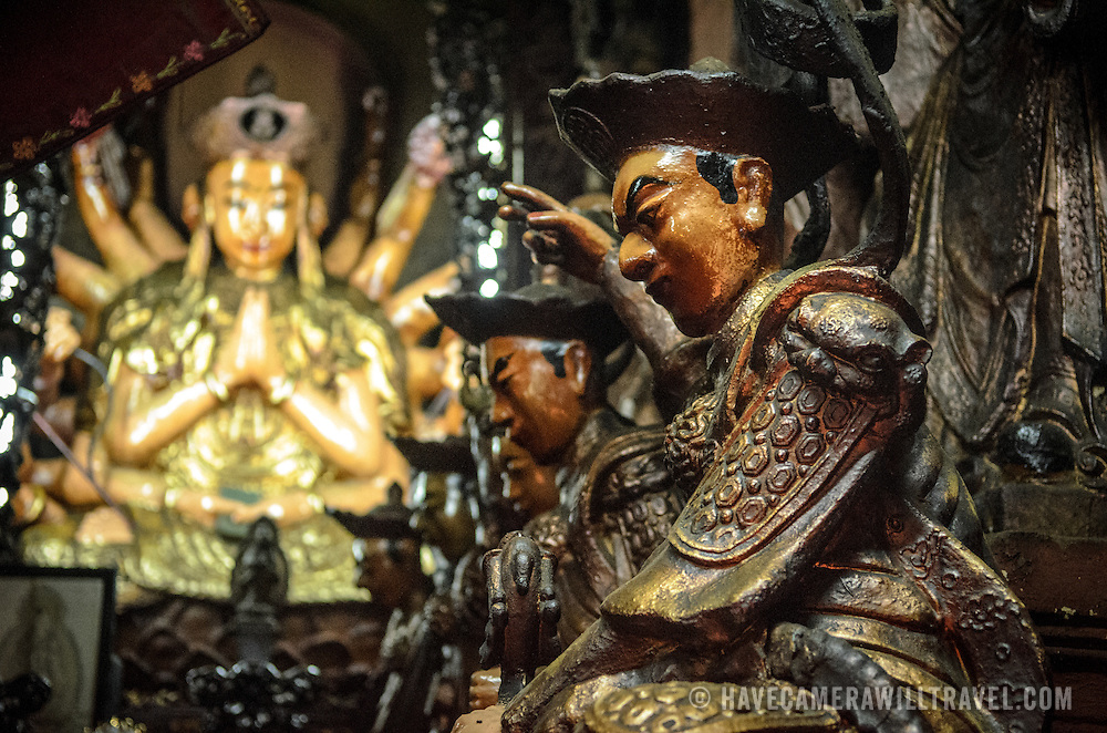 Ornate statues at the Jade Emperor Pagoda in the Da Kao district of Ho Chi Minh City, Vietnam. The Chinese temple was built in 1909 and contains elements of both Buddhist and Taoist religions.