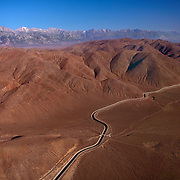 Aerial view of the LA Aqueduct running through the Alabama Hills in desert country in Eastern California