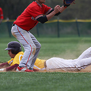 St. Elizabeth Infielder Michael Piekarski (8) slides into second base head first during of a varsity scheduled game between the Colonials of William Penn and The St. Elizabeth Vikings Saturday, April 25, 2015, at William Penn High School baseball field in New Castle Delaware.<br /> <br /> William Penn defeats St. Elizabeth 6-5