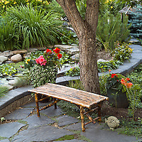 bamboo bench slate patio and pond