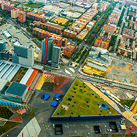 Aerial views of famous tourist sites in Barcelona Spaion