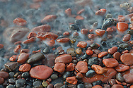 surf and rocks on shore,Santorini, Kyclades,South Aegean, Greece,Europe