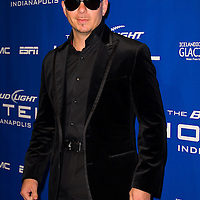 Pitbull appears at the Bud Light Hotel during Super Bowl XLVI activities in Indianapolis, Indiana. Michael Hickey, Getty Images for Yahoo.