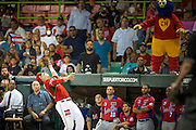 SAN JUAN, PUERTO RICO FEBRUARY 3: A player for the Mexico team makes the catch outside of Puerto Rico's dugout during the game against Puerto Rico on February 3, 2015 in San Juan, Puerto Rico at Hiram Bithorn Stadium(Photo by Jean Fruth)