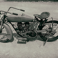 Circa 1917 Vintage World War I Indian Motorcycle at the Old Rhinebeck Aerodrome in New York.