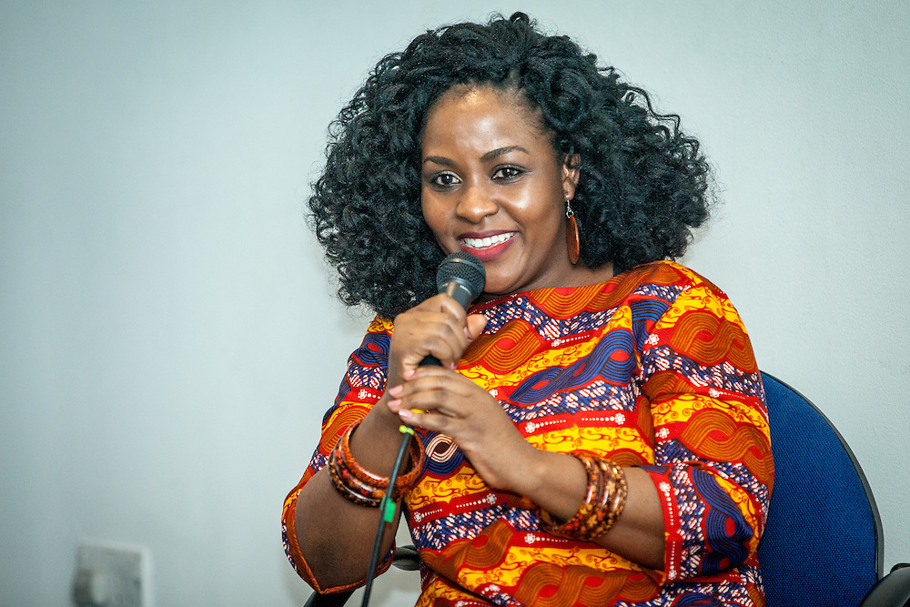 Ghanaian director Priscilla Anany speaks during The Royal African Society's Annual Film Festival 2016 at Bernie Grant Arts Centre. London, Saturday 5 November 2016. (Photos/Ivan Gonzalez)