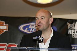 Apr 18, 2009; Montreal, Quebec, CAN; speaks at the press conference after UFC 87: Redemption at the Bell Centre in Montreal, Canada.