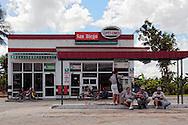 People waiting at a gas station in San Diego de los Banos, Pinar del Rio, Cuba.