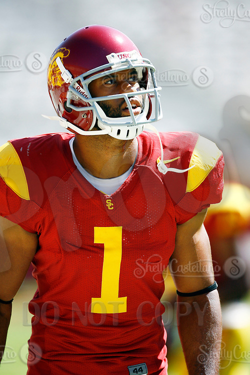 11 October 2008: NCAA Pac-10 USC Trojans 28-0 shut-out win over the Arizona State University Sun Devils during a day college football game at the Los Angeles Memorial Coliseum in Southern California. #1 Patrick Turner.