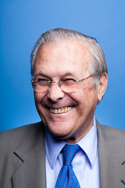 Former Secretary of Defense Donald Rumsfeld poses for a portrait at SiriusXM studios before being interviewed by SiriusXM Patriot host David Webb on April 26, 2011 in Washington, DC. Rumsfeld recently released his memoir, Known and Unknown.