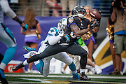 Baltimore Ravens wide receiver Steve Smith Sr. pulls in a touchdown during second quarter action against the Carolina Panthers at M&T Bank Stadium on September 28, 2014 in Baltimore, Maryland. UPI/Pete Marovich