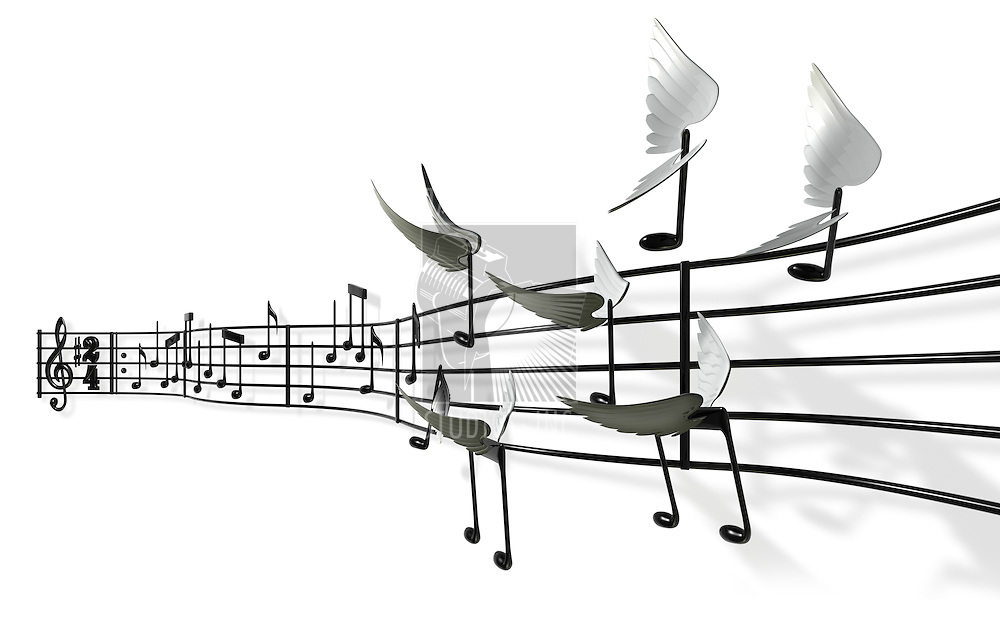 A musical score with the notes peeling off the bars and flying away freely