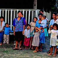 South America, Peru, Amazon River. Village people of the Amazon.