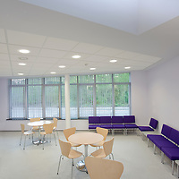 natural light coming into staff canteen area with purple seating, tables and chairs