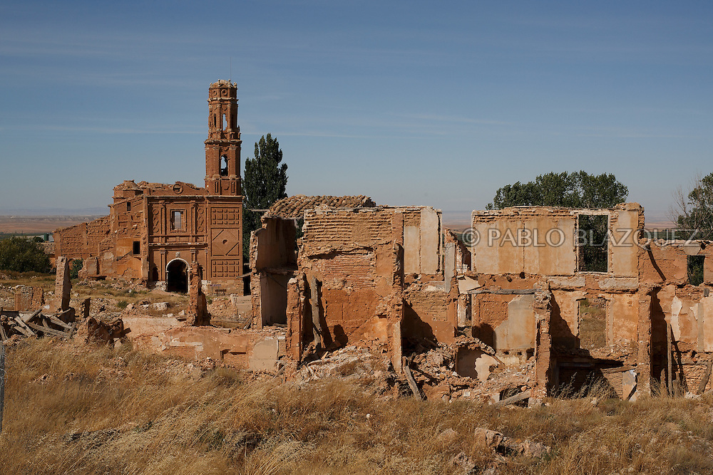 14/07/2016. The ruins of San Agustin Church stand on July 14, 2016 at Old Belchite village, in Aragon province, Spain. Before Franco's coup on 18 July 1936, Belchite village had a socialist mayor. Within a few days Franco's forces arrested Belchite's government. The battle of Belchite took place on 24 August to 7 September 1937, during the Spanish Civil War confronting left wing Republicans and right wing General Franco's forces, until the Republicans conquered the village. On March 1938, Franco's regime took control of Belchite again after approximately 30 bombings with the help of Italian's war planes. The result of these battles and bombings was a devastated village and over three thousands deaths. Then Franco ordered to leave the ruins untouched, as a living monument of war, and started to build the New Belchite village just beside. (© Pablo Blazquez)