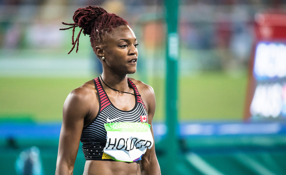 Nikkita Holder runs the Olympic 100m meter hurdles in Rio de Janeiro on August 17, 2016.