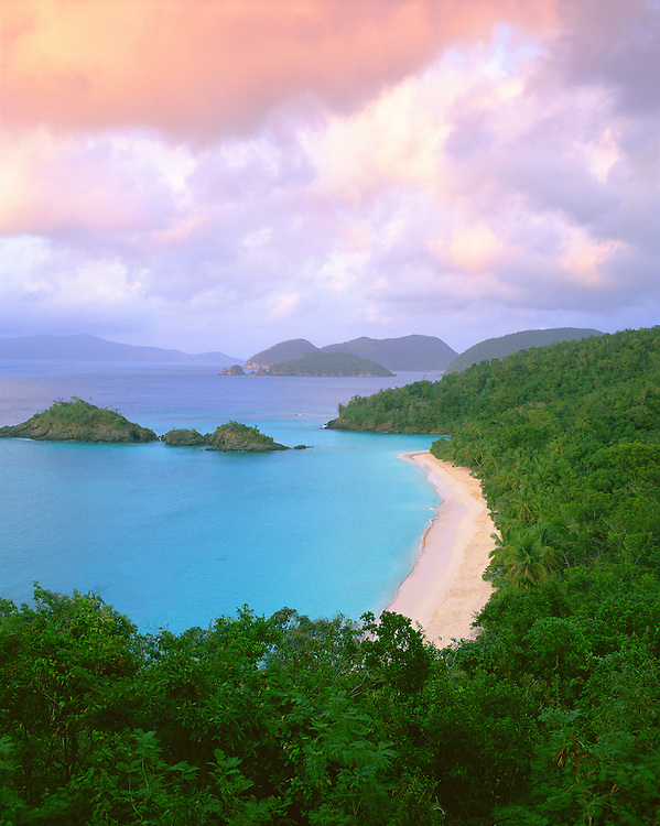 6201-1002LVT ~  Copyright: George H.H. Huey ~ Trunk Bay and beach.  St. John Island.  [Part of U.S. National Park System].  Virgin Islands National Park, U.S. Virgin Islands.
