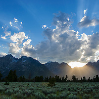 Grand Teton National Park, sun setting behind Teton Range