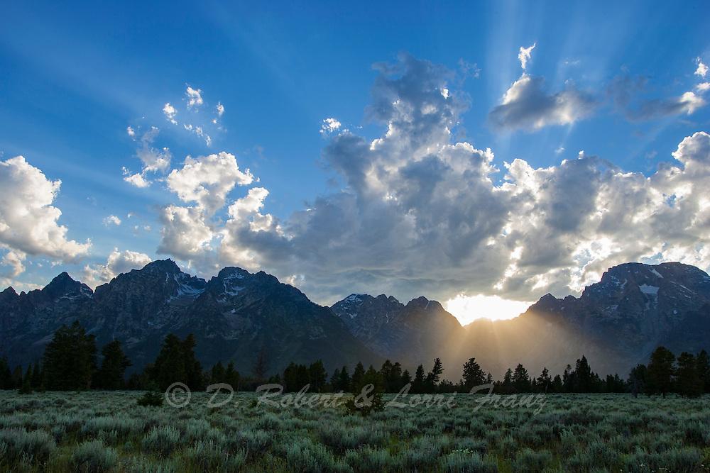 Grand Teton National Park, sun setting behind Teton Range