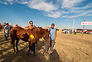 Fort Belknap Indian Reservation, Milk River Memorial Horse Races, Painted Horse Relay, Cory Fortin, second place, before race