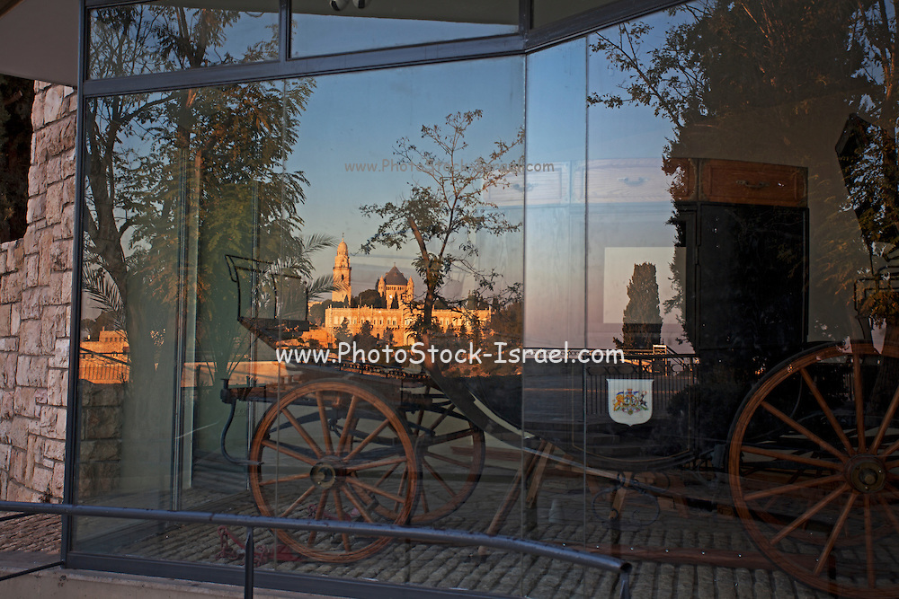 "Israel, Jerusalem, ""New City"" The Montefiore carriage in Yemin Moshe, first Jewish residence built outside Old City walls is named after Sir Moses Montefiore who established the neighborhood."