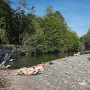 Subathing along the Dungeness River on a warm first weekend in June.