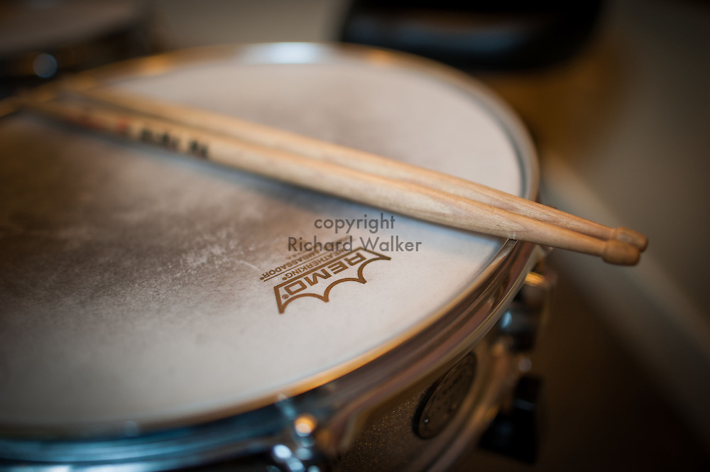 2015 August 15 - Drumsticks on a snare drum with a Remo head in Seattle, WA, USA. By Richard Walker