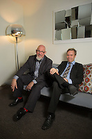 Founder and CEO of X5 Music, Johan Lagerlof, right, and the U.S. chief, Scott Ambrose Reilly, at the X5 Music offices in the Empire State Building in New York. ..Photo by Robert Caplin..