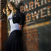 SHOT 8/20/2006 - Larimer Square 2006 fashion campaign - fall clothing. Shot in an alleyway in LoDo in Downtown Denver, Co. Image shot with a lensbaby..(Photo by Marc Piscotty/ © 2006)