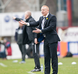 Falkirk's manager Gary Holt.<br /> Dundee 0 v 1 Falkirk, Scottish Championship game played today at Dundee's Dens Park.<br /> &copy; Michael Schofield.