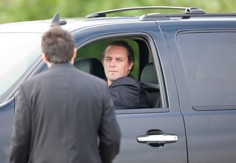 Former Detroit Red Wing Darren McCarty arrives for teammate Bob Probert's funeral at the Windsor Christian Fellowship church in Windsor, Ontario July 9, 2010 following Probert's sudden death earlier this week at the age of 45.<br /> The Canadian Press/GEOFF ROBINS