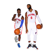 AUBURN HILLS, MI. - SEPTEMBER 26: Reggie Jackson #1 and Andre Drummond #0 of the Detroit Pistons poses for a photo during media day on September 26, 2016 in Auburn Hills, MI.  NOTE TO USER: User expressly acknowledges and agrees that, by downloading and or using this photograph, User is consenting to the terms and conditions of the Getty Images License Agreement. Mandatory Copyright Notice: Copyright 2016 NBAE  (Photo by Rick Osentoski/NBAE via Getty Images)