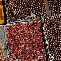 nutmeg dries in a Balik Pulau, Penang, Malaysia market