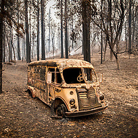 A destroyed vehicle off CA 175 after the Valley Fire burned through. <br /> <br /> Wreckage in the aftermath of the Valley Fire in Lake and Sonoma Counties Monday September 14th, 2015. As of Monday evening the fire had burned over 60,000 acres and was 10% contained. The Associated Press reported that at least one person was killed due to the fire.