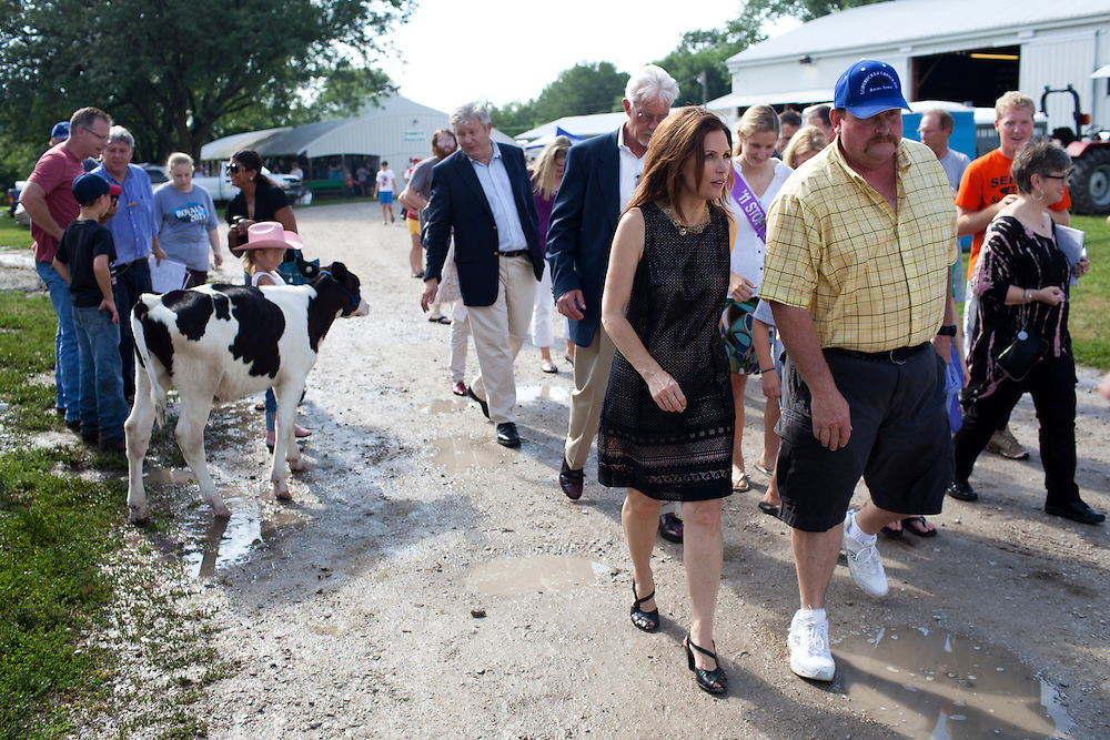 Republican presidential hopeful Michele Bachmann campaigns at the Story County Fair on Saturday, July 23, 2011 in Nevada, IA.