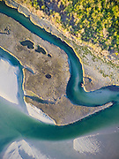An aerial drone view of Narrow River of Narragansett, Rhode Island.
