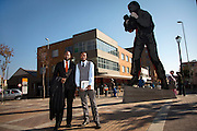 Lawyers, Dumisani Mabunda, 35, and Loyiso Mkukela, 26, both from Welkom, pictured outside Chancellor House, in Johannesburg, South Africa. Chancellor House was where Nelson Mandela and Oliver Tambo set up their law firm.