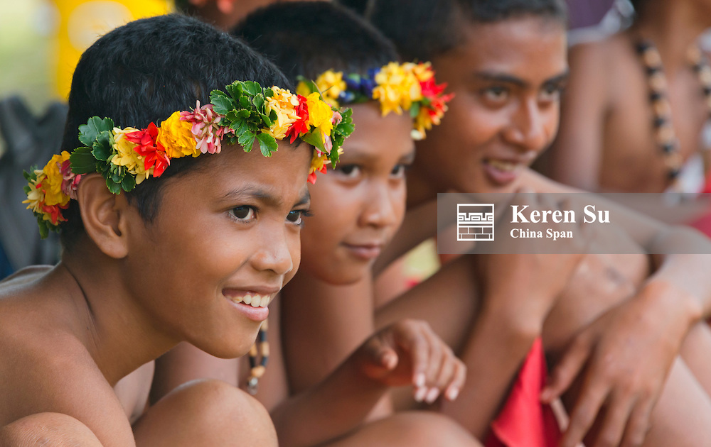 Yapese boys in traditional clothing, Yap Island, Federated States of Micronesia