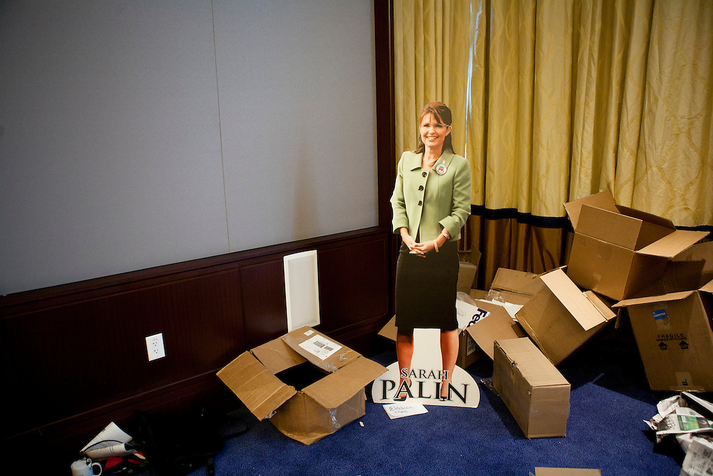 A cardboard cutout of Sarah Palin sits in a back room at the American Association of Political Consultants' 18th annual Pollie Awards and Conference on Mar. 29, 2009 in National Harbor, MD.