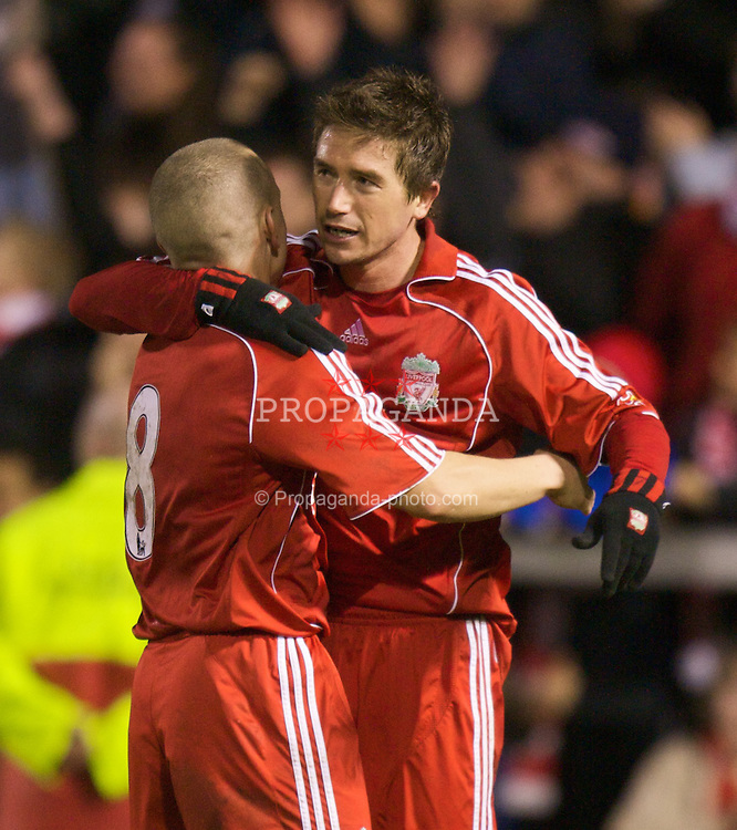 WARRINGTON, ENGLAND - Tuesday, February 26, 2008: Liverpool's Harry Kewell celebrates scoring the second goal past Manchester United with team-mate Jay Spearing during the FA Premiership Reserves League (Northern Division) match at the Halliwell Jones Stadium. (Photo by David Rawcliffe/Propaganda)