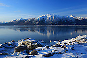 Turnagain Arm and Kenai Mountains, Kenai Peninsula, Alaska, USA