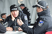 Emirates Team New Zealand coach Joe Allen and wing trimmer  Glenn Ashby in the hospitality area in San Francisco. 23/8/2012