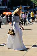 Striped Sailor Top and White Maxi Skirt, Outside BCBG Max Azria