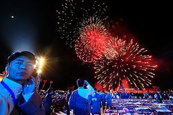 A picture made available on 19 September 2016 of Tibetan people looking at fireworks during the opening ceremony of the Third China Tibet Tourism and Culture Expo in Lhasa, Tibet Autonomous Region, China, 10 September 2016. China is heavily promoting tourism in the region as it plans to attract 24 million tourists this year and 35 million by 2020. It opened the weeklong Third China Tibet Tourism and Culture Expo on 10 September 2016 inviting more than 400 overseas guests including ambassadors, diplomats and merchants from all over the world.