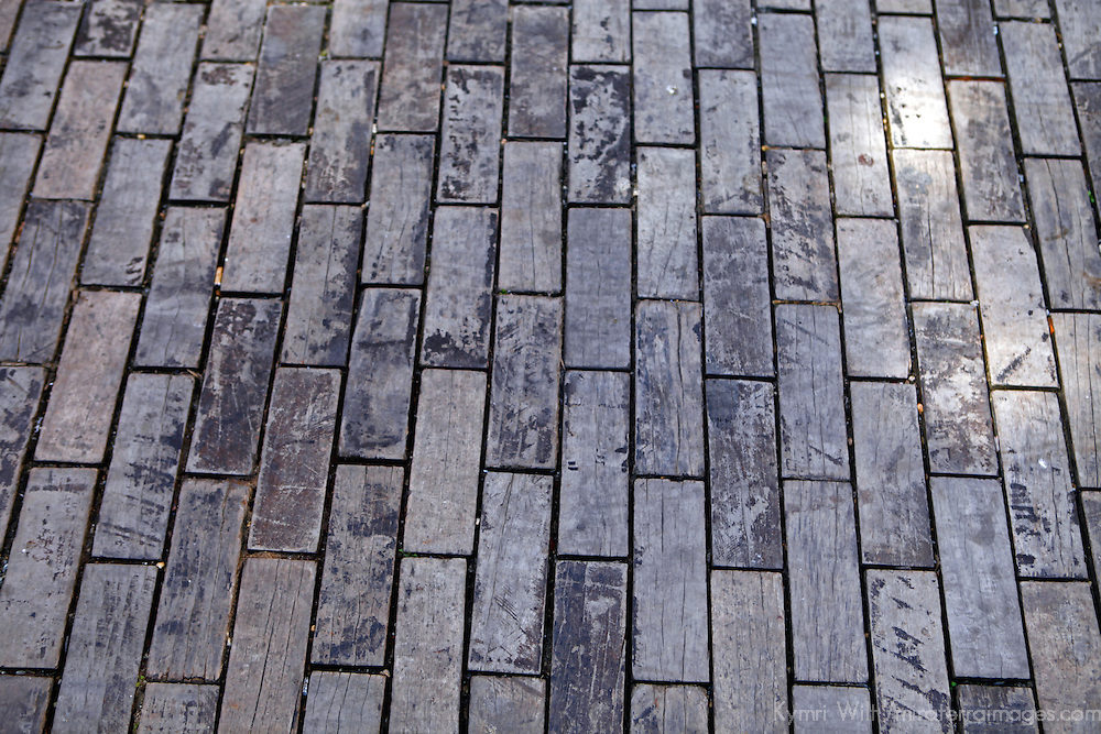 Central America, Cuba, Havana. Wooden bricks of Tacon Street in Old Havana.